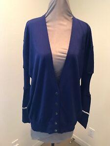 Alexander Wang Royal Blue Cardigan Sweater Long Sleeve Size Large ...