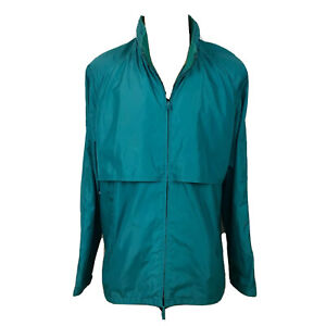 VINTAGE-Woolrich-The-Teton-Windbreaker-Jacket-Size-XL-Green-PACKABLE-Hooded-A012