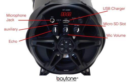 Boytone BT-42BK Portable Bluetooth Indoor//Outdoor 2.1 Hi-Fi Cylinder Loud Speake