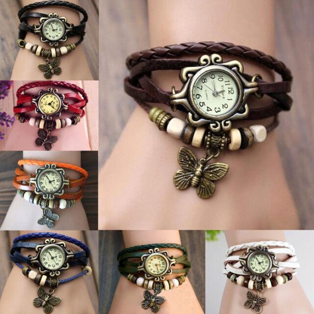 Reloj De Pulsera Mujer Cuero Abalorios Cuarzo Brazalete Mariposa Vintage Watches