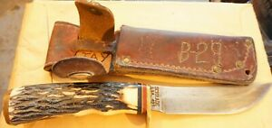VINTAGE-ORIGINAL-SCHRADE-USA-49ERS-sheath-with-497-HUNTING-BOWIE-KNIFE-OLD-NR