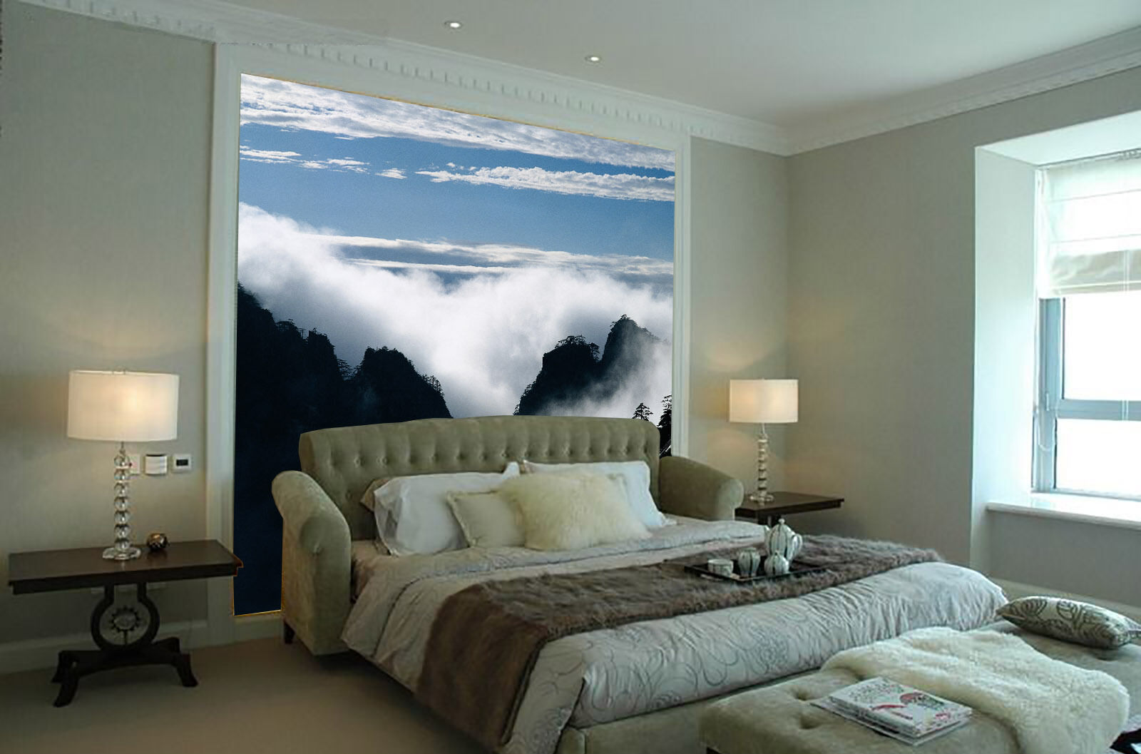 3D Weiß Mist Cloud Mountain Paper Wall Print Wall Decal Wall Deco Indoor Murals