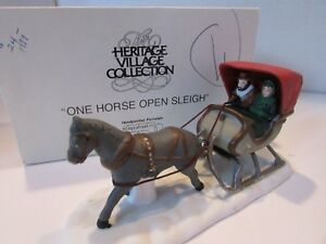 DEPT-56-59820-ONE-HORSE-OPEN-SLEIGH-HERITAGE-VILLAGE-HORSE-DRAWN-NICE-D11