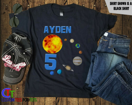 Planet Birthday Shirt Outerspace Tshirt girl boy Personalized Space kids Tee