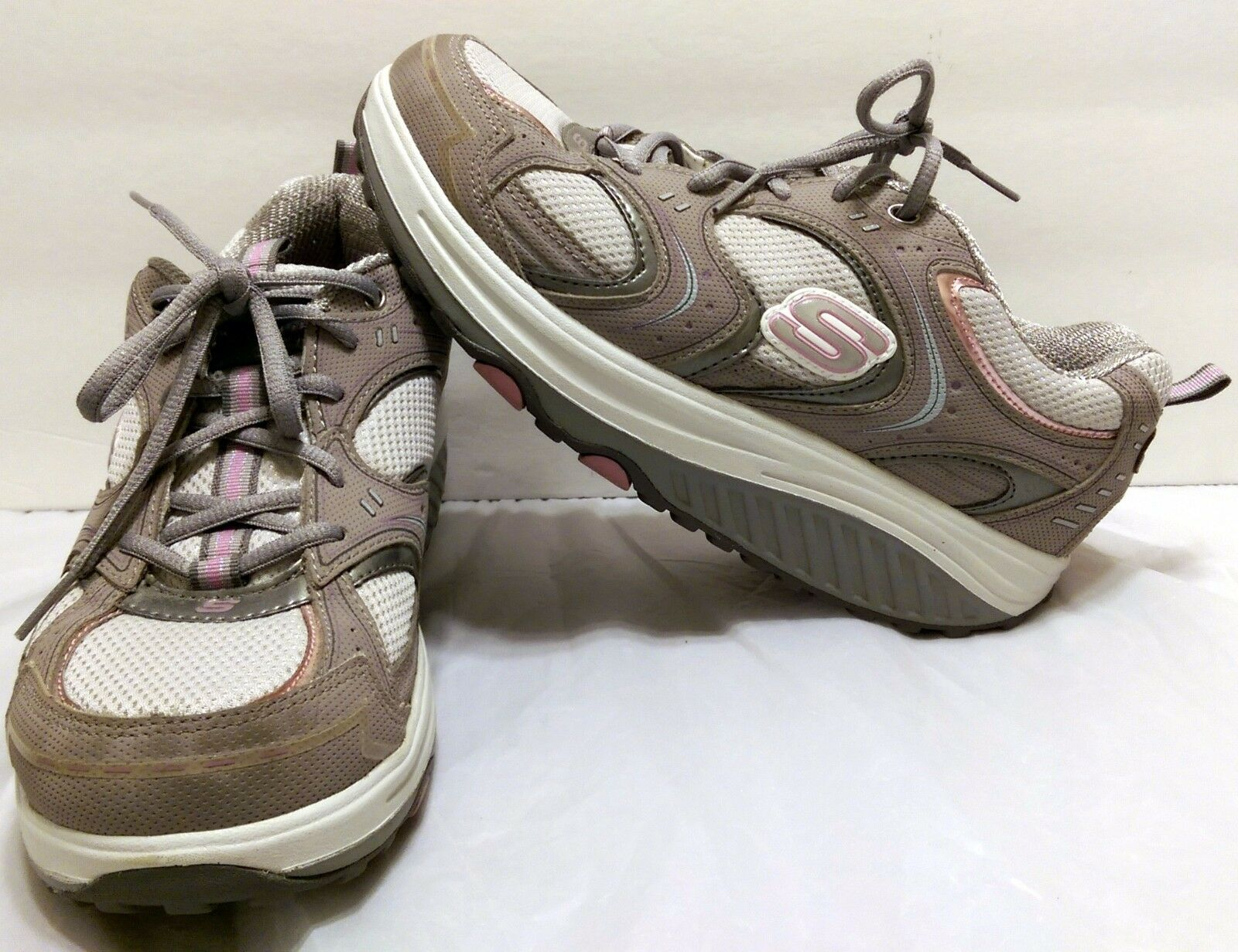Skechers Shape Ups Gray Pink Shoes Size 9  Fitness Toning Exercise Sketchers