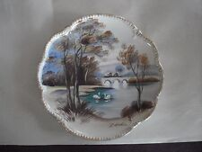 """Vintage Hand Painted Porcelain 8"""" Plate, Decorative Scene, Signed by Artist, #1"""
