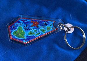 Vintage Acrylic Hawaii Souvenir Keychain Map Of ISLANDS Double Sided !!