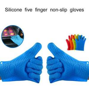 1-Pair-Silicone-Oven-Heat-Resistant-Mitts-Pot-holder-Gloves-Grill-Cooking-BBQ