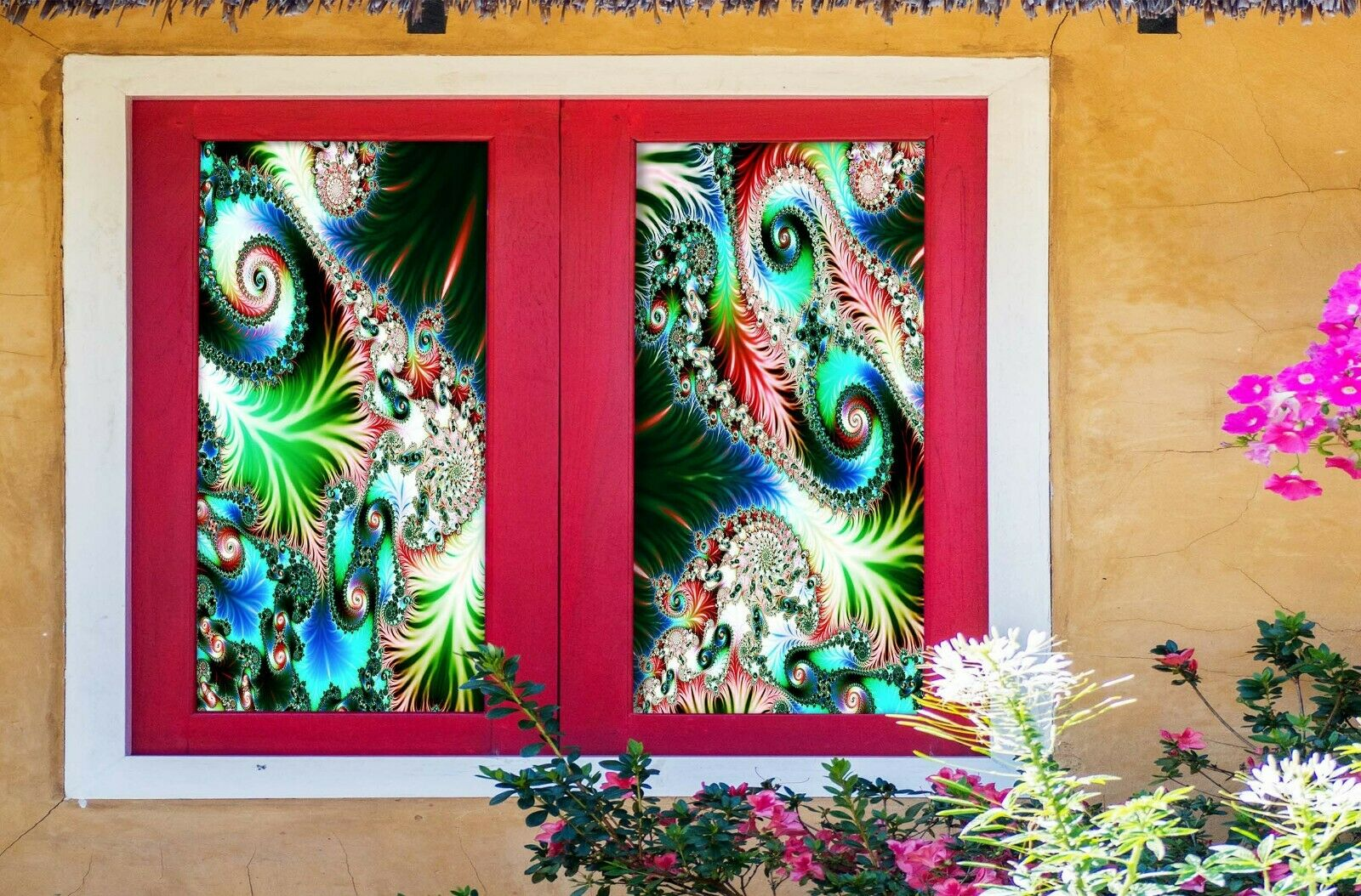 3D Psychedelic Pattern R086 Window Film Print Sticker Cling Stained Glass UV Su