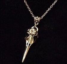 "Crow Skull Necklace 24"" Animal Native American Bird Bellatrix Steampunk Rocka Uk"