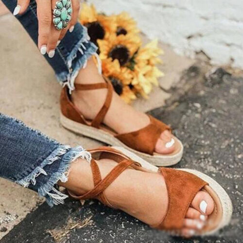 Damen Sommer Retro Cross Flache Sandalen Lässige Strand Schnalle Open-Toe Schuhe