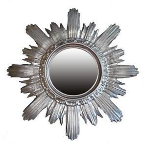Baroque-Mirror-round-round-Wall-Mirror-Sun-Sun-in-Silver-42x42-Cm-New