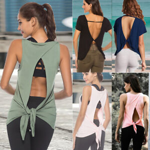 Womens Running Gym Yoga Vests Fitness Base Layer Tank Tops T-Shirt Dri fit Tight