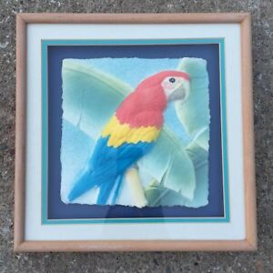 3D-Scarlet-Macaw-Red-Parrot-on-Embossed-Paper-Framed-Wall-Art-Painting-13x13