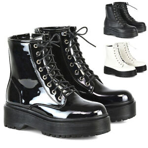 Womens-Lace-Up-Ankle-Boots-Chunky-Platform-Ladies-Zip-Goth-Punk-Booties-Shoes