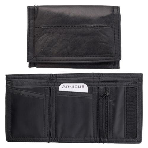 Mens Boys Genuine Real Nappa Leather Ripper Wallet Purse Black Zipped Pocket