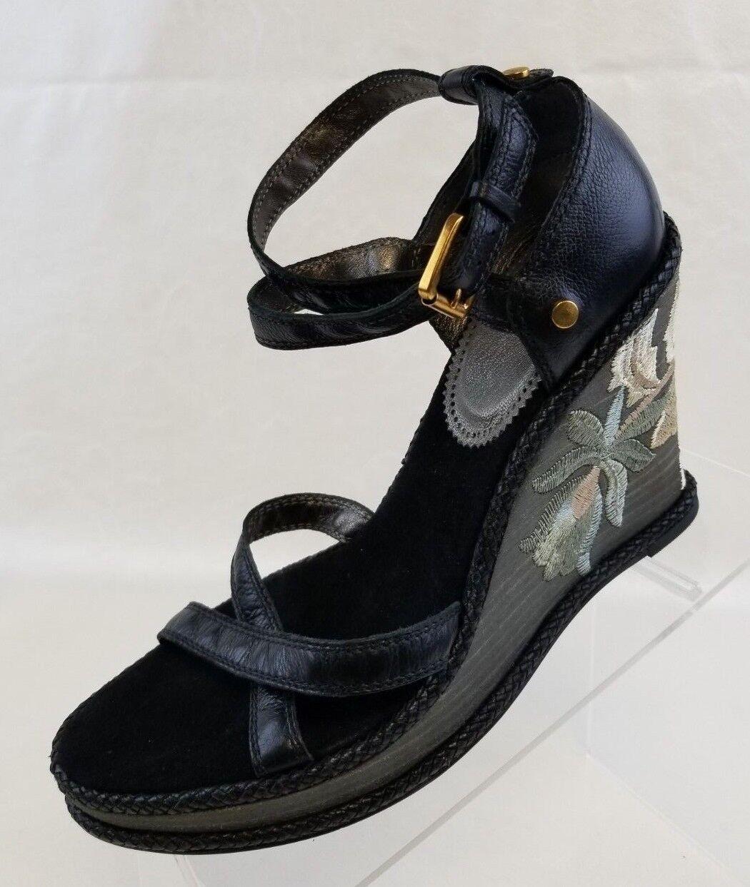 J Vincent Wedge Platform Embroidery Floral Braun Leder Ankle Strap Schuhes Sz 8