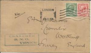 DUAL FRANKED Italy Sc#94 Great Britain SG#357 CENSORED S.N.O