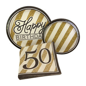 Details about Black Gold Happy 50th Fiftieth Birthday Party Dinner Dessert Plates Napkins 8