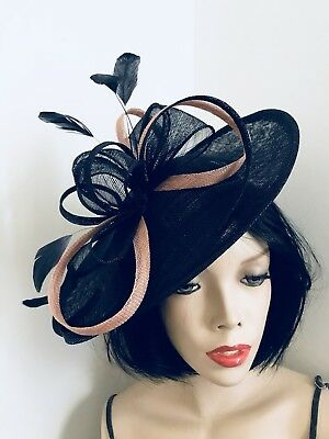 NEW Navy Nude Fascinator Wedding Saucer Hat Formal Ladies Womens Hatinator Disc