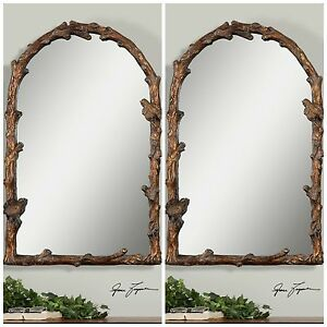"Arch Wall Mirror two new 37"" aged gold leaf arch wall mirror bird on branch old"