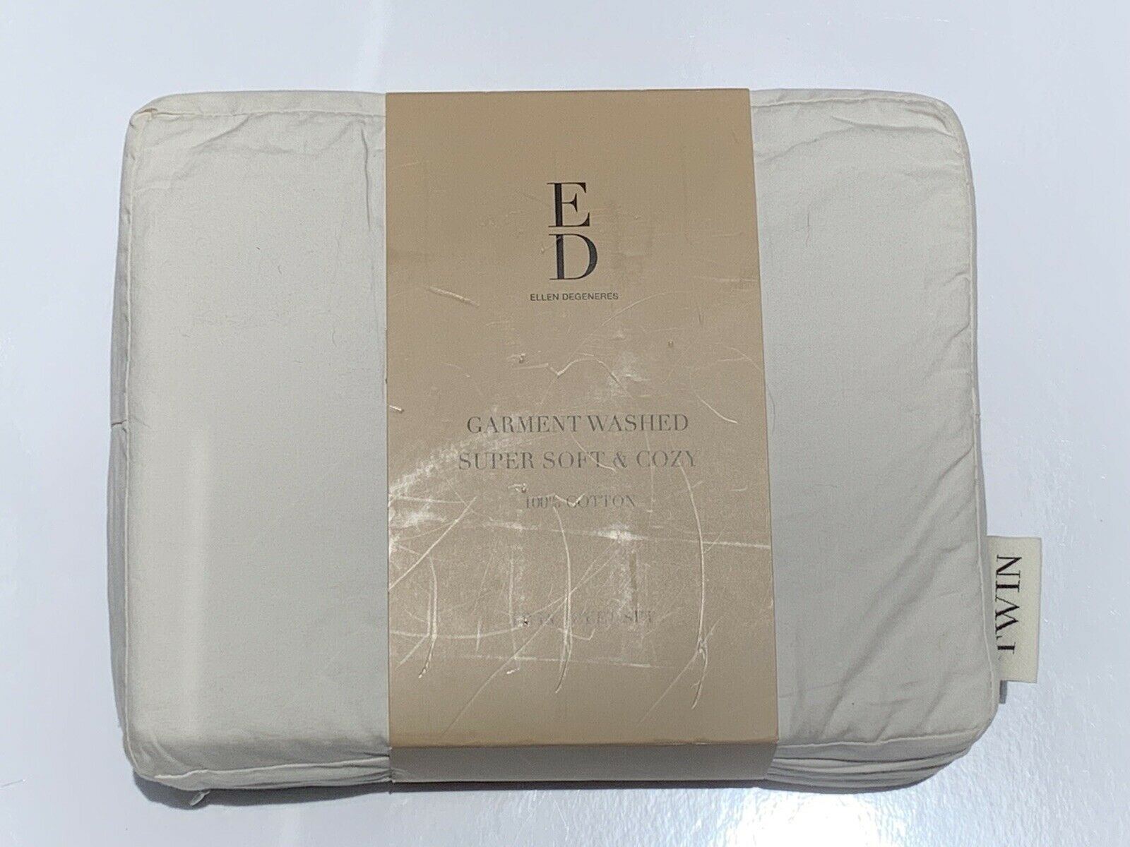ED Ellen DeGeneres Garment Washed Super Sanft & Cozy Full Sheet Set in Cream NEW