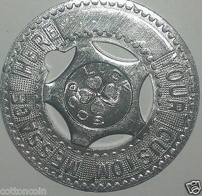 Custom Blue Metal Typer Identification Good Luck Medal Token Coin Vintage