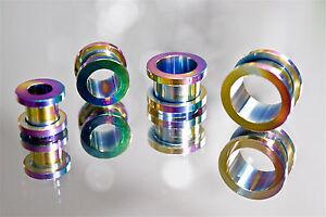 Tunnel-Plug-Piercing-Ohrschmuck-Flesh-Ohr-Schraubgewinde-rainbow