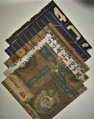 "Tim Holtz 18 Sheets of 6/""x6/"" Patterned Paper Dapper"
