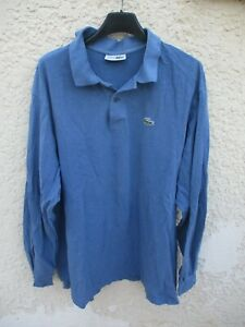 Polo-LACOSTE-Devanlay-bleu-coton-manches-longues-made-in-France-taille-8