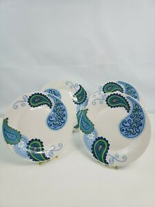 4 Royal Norfolk Paisley Floral Print Blue Ceramic Stoneware Dinner Plates