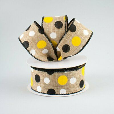 """1.5/"""" Natural//Beige with Black Polka Dot Canvas Wired Ribbon 5 Yards"""