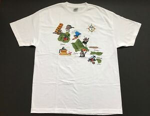 B-Kliban-Cat-White-Hawaii-Isands-T-Shirt-Size-XL-USA-Made-Surfing-Fishing-Biking