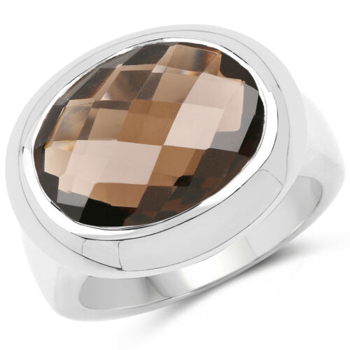 925 Sterling Silver 7.90 Ct Genuine Smoky Quartz Solitaire Bezel Gemstone Ring