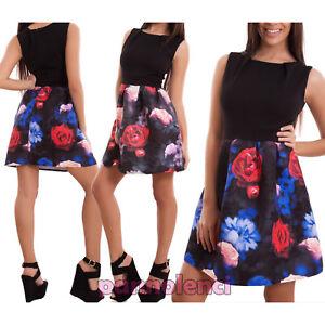 468b73e4e8 Caricamento dell'immagine in corso Vestito-donna-miniabito-abito-gonna-ruota -fiori-palloncino-