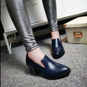 Womens-Fashion-New-Retro-Lace-Up-Pointy-Toe-Thick-Heel-Leisure-Shoes-Size-US8