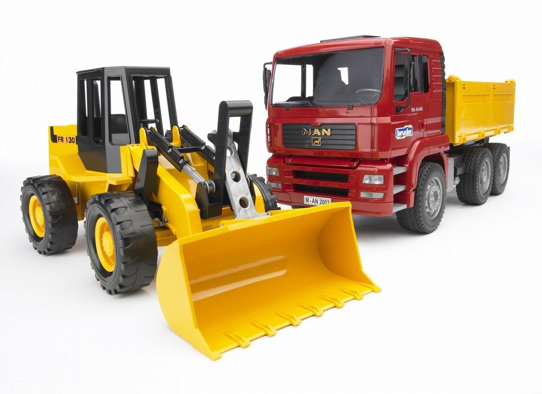 BRU2752 - Camion 6x4 benne MAN TGA avec chargeur sur pneus jouet BRUDER - 1 16