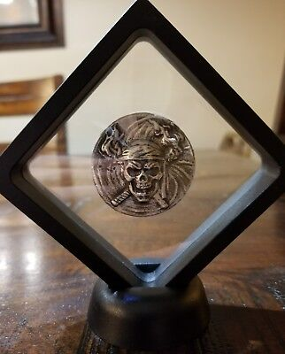 2 oz 999 Silver hand poured skull only 500 made Pirate Buccaneer treasure FRAMED