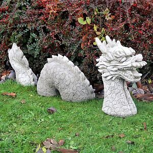 3 Pieces Dragon Cast Stone Garden Ornament Large Statue Detailed
