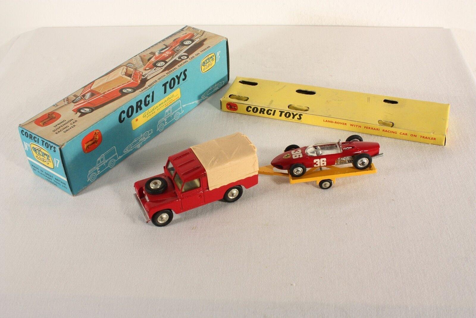 Corgi toys veneno set 17, país-Rover with Ferrari Racing Car, Mint en Box  ab666