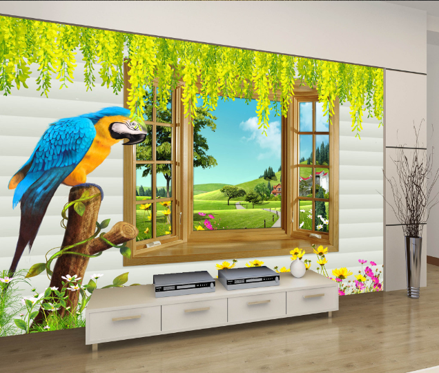 3D Parrot And Lawn Nature 758 Wall Paper Wall Print Decal Wall AJ WALLPAPER CA