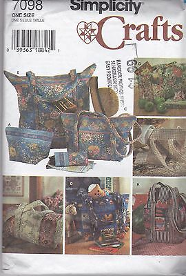 Simplicity 7098 Sewing Pattern Crafts Quilted Bags Eyeglasses Case New Uncut FF