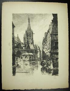 Julien Lacaze (1886-1971) Vue De L'Église Saint-séverin Paris Gravure Numér 1947