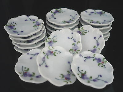 10 Blue Tulip Coffee Cup 10 Scalloped  Plate Dollhouse Miniatures Hand Paint