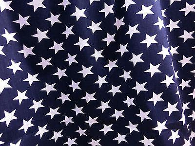"DARK BLUE WHITE STAR POLISHED COTTON FABRIC 44""W DRESS DRAPE SCARF SKIRT DECOR"