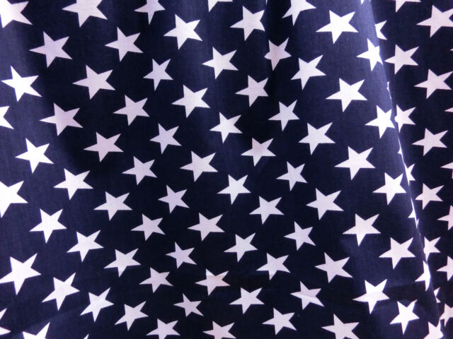 "DARK BLUE WHITE STAR POLISHED COTTON FABRIC 44""W DRESS DRAPE SCARF SKIRT DECOR"