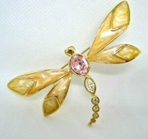 Designer/'s Jewelry Vintage Rhinestones KJL For AVON  Dragonfly Brooch Gold Toned Enamel K.J.L