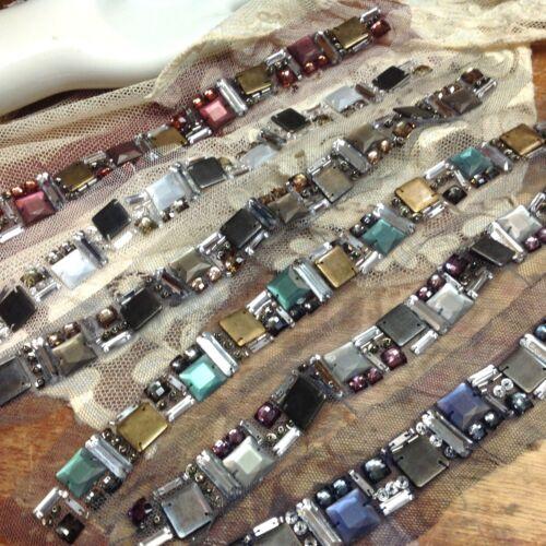 "METAL Beads STONES 3//4/""x11.5/"" NETTING collar 1pc CUFF Beaded Strip Trim"