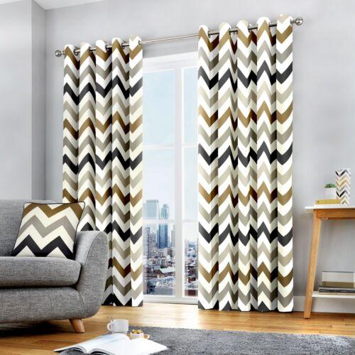 Fusion CHEVRON Tan Brown /& White 100/% Cotton Eyelet Ring Curtains /& Cushions