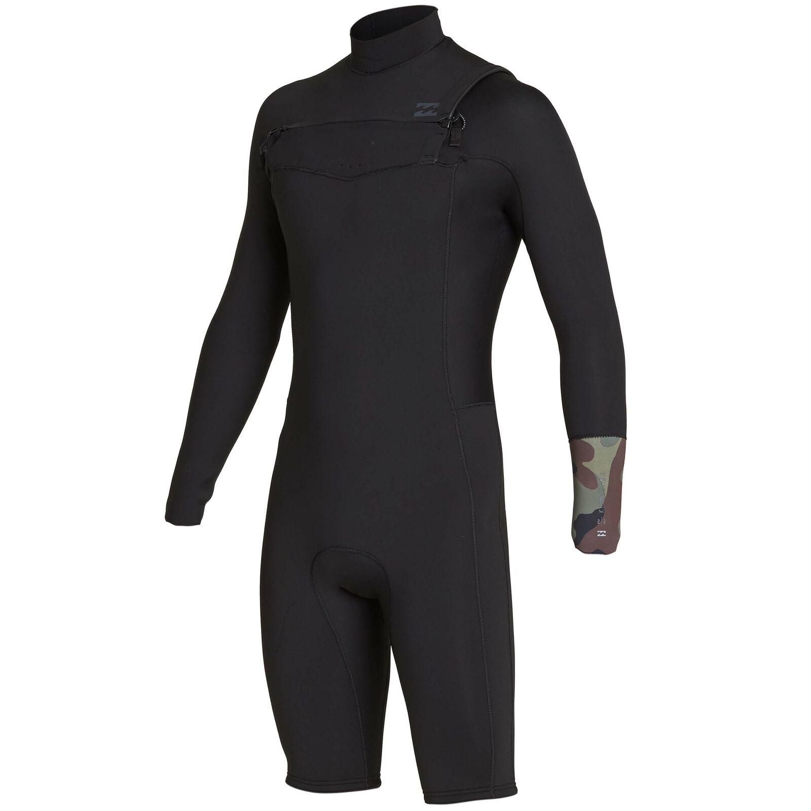 Billabong Mens Furnace Revolution 2 2mm Chest Zip Spring Wetsuit Camo